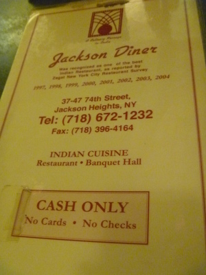 The Jackson Diner Cash Only