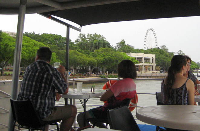 Enjoying the view of South Bank from the upper deck of the River Tour Cafe
