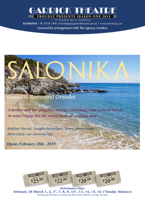 Salonika, Garrick Theatre, Louise Page, Douglas Sutherland-Bruce, Siobhan Vincent, Kerry Goode, Ray Omedai, Jake Newby