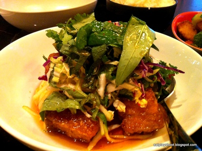 Shared mains: Pork Belly with Chilli Caramel, Black Vinegar and Apple Slaw