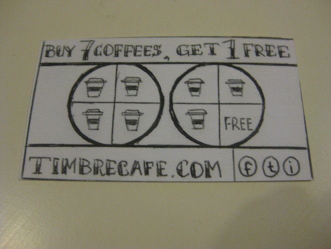 Timbre Cafe - rewards card