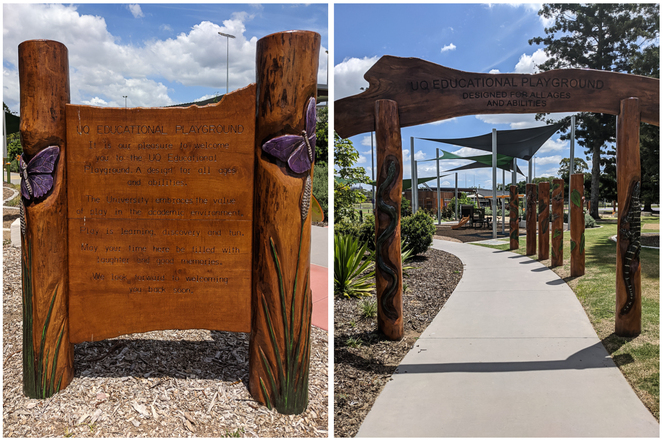 Wooden Entrance Sign and Pole Art at UQ Educational Playground
