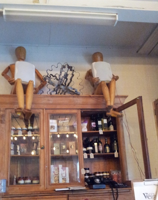 Fashion mannequins oversee happy diners