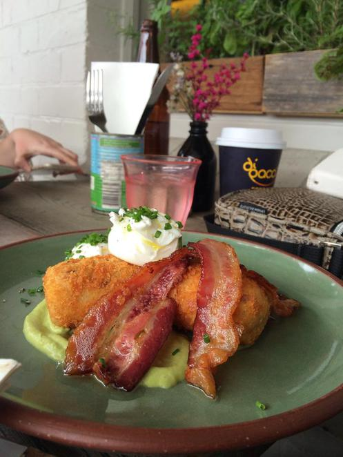 bacon, croquette, poached, eggs, pea, puree, chives, cuckoo calley, bacon festival, newtown