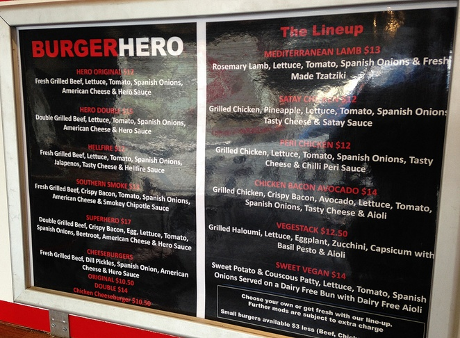 burger hero, braddon, canberra, mort street, best burgers, ACT, chips, menu,
