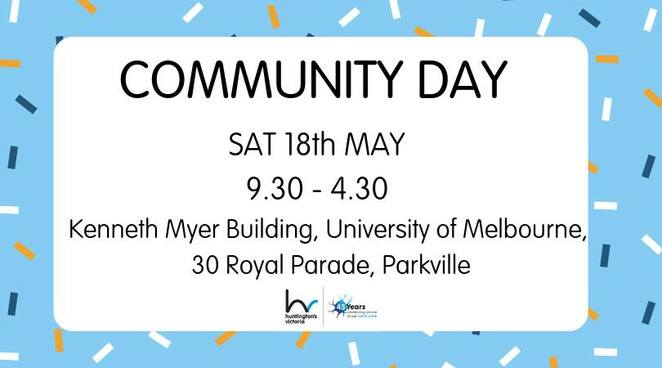 community day 2019, kenneth myer building, university of melbourne, parkville, community event, fun things to do huntington's victoria, free event, researchers, medical professionals, public speaking, living well with hd, informative, educational, medical event
