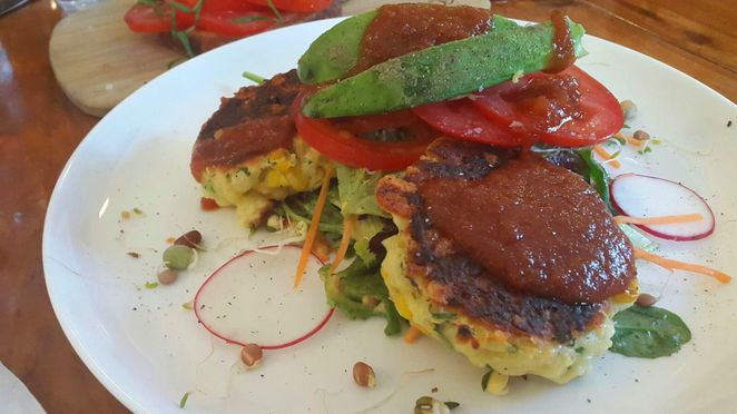 Corn fritters at Palms Cafe