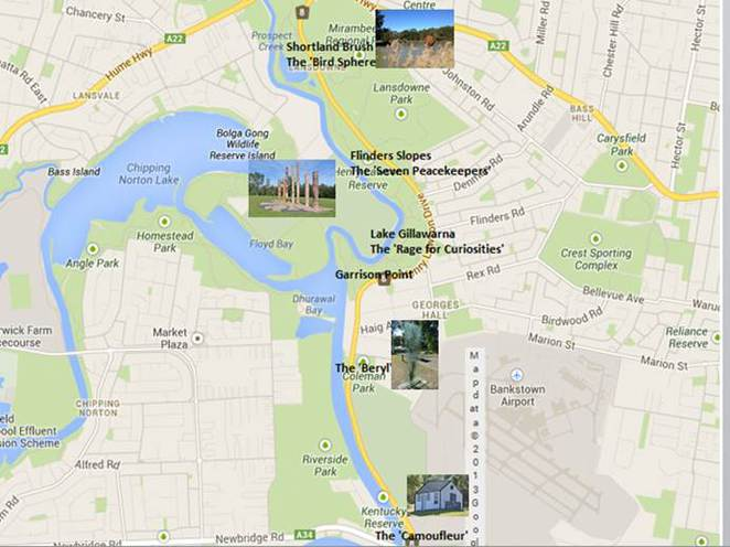 Crosscurrent Georges River artwalk location map