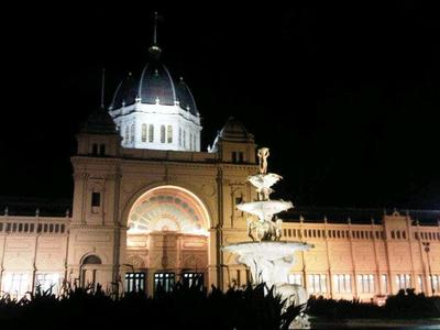 The Exhibition Building at night