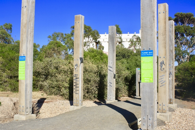 The Entrance to the Viewing Area for the Tumby Bay Silo Art – image Jenny Esots