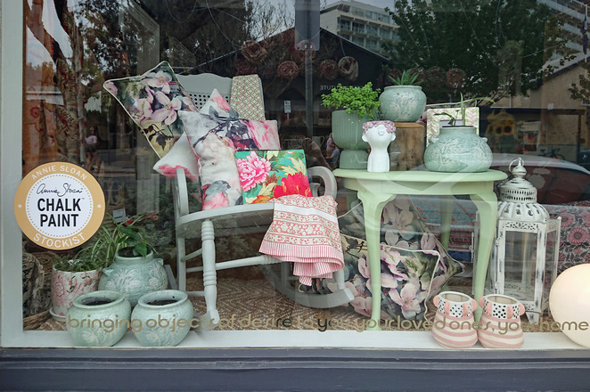 gitanjali window display chalk paint furniture upcycled adelaide recycled countrystyle homebeautiful