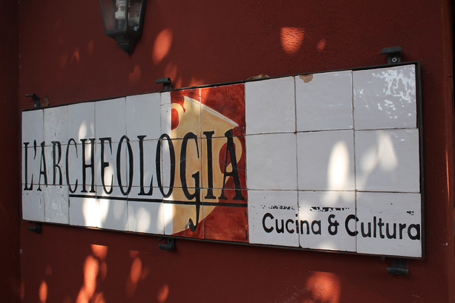 l'archeologia restaurant rome italy entrance sign