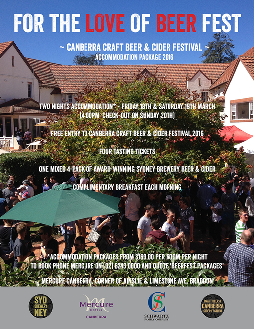 mecure, canberra craft beer and cider festival, canberra, ACT, accommodation in canberra,