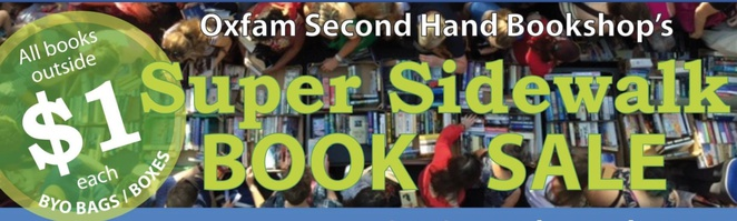 Oxfam, Oxfam second hand bookshop, book sale, sidewalk sale, Hutt Street, Adelaide, Experience Cafe, second hand books,