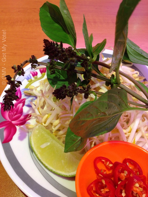Pho condiments, Vietnamese, Basil, Bean Sprouts, Chili