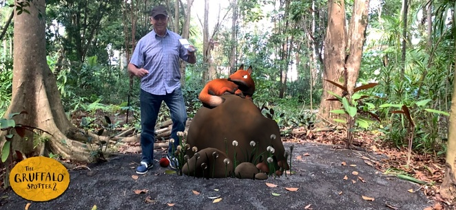 The Gruffalo is at The Ginger Factory, Sunshine Coast, FREE augmented reality experience, children's book, mouse, fox, owl, snake, Rainforest Walk, download the app, start the Gruffalo Trail, search for clues, Moreton the Train, Overboard boat ride, Buderim Ginger Tours, Bee Show with tastings, boutique shopping, Gift Shop, heritage-styled village, The Ice Creamery, Ginger Cafe, wheelchair friendly