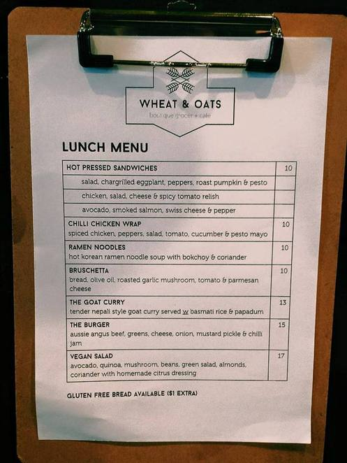 Wheat and oats Lunch Menu