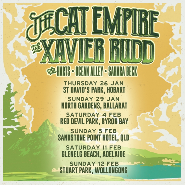 xavier rudd the cat empire, the cat empire adelaide, adelaide concerts, the cat empire tour 2017, ocean alley, sahara beck, HARTS, xavier rudd concerts