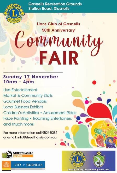5th anniversary community fair, lions club of gosnells community fair, free fair, gosnells recreation ground, community event, fun things to do, live entertainment, market and community stalls, gourmet food vendors, childrens activities, amusement rides, face painting, activities, entertainment, performances, family fun, charity