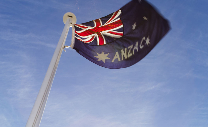 ANZAC Day Sunset Service at ANZAC Cottage 2018. The unique ANZAC flag will be raised.