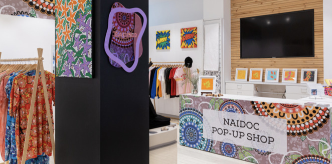 boomalli pop up shop, community event, fun things to do, shopping, naidoc pop up shop, naidoc week 2021, boomalli artist cooperative, art, textile, clothes, accessories, jewellery, homewares