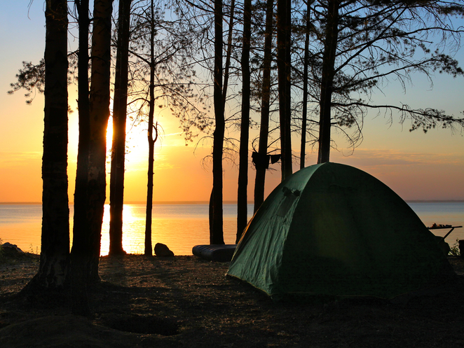 Camping Tent Sunset Outback