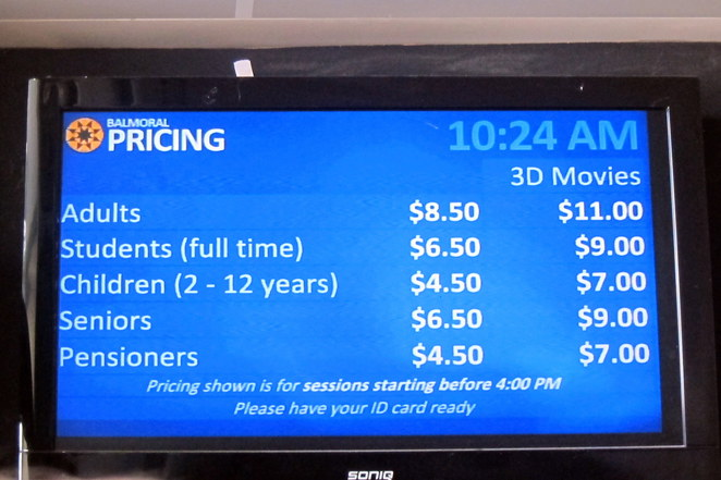 Cineplex Balmoral prices