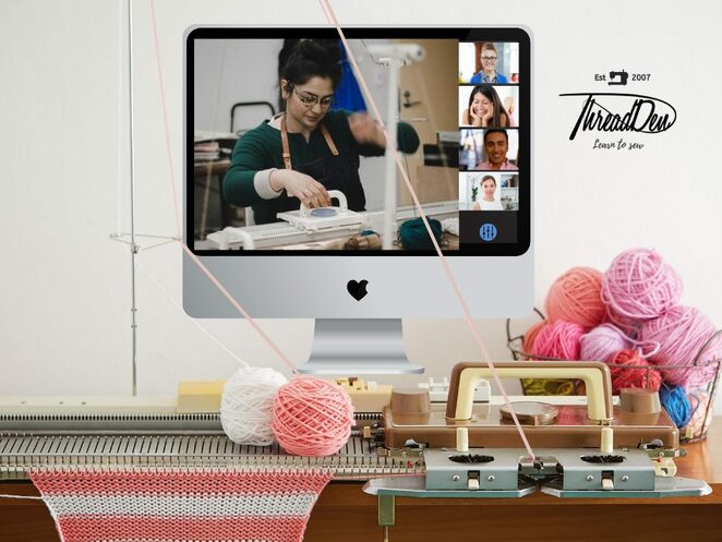 get to know your knitting machine online workshop, market bag online knitting workshop 2020, community event, fun things to do, online knitting event, thread den, knitting workshop