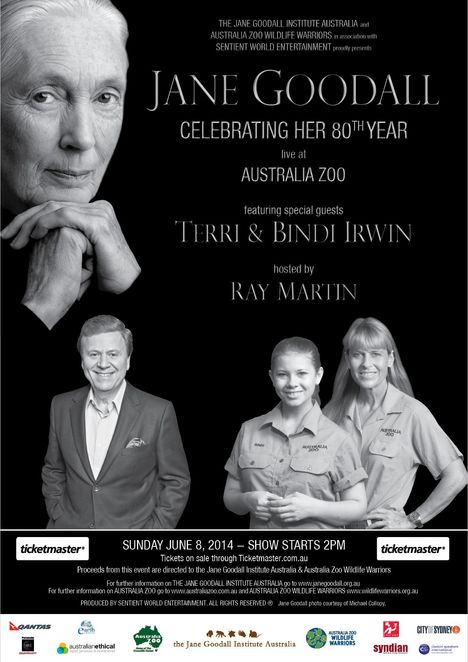 Jane Goodall, Australia Zoo, Ray Martin, Chimpanzee, Wildlife Warrior, Bindi Irwin, Terri Irwin, Steve Irwin