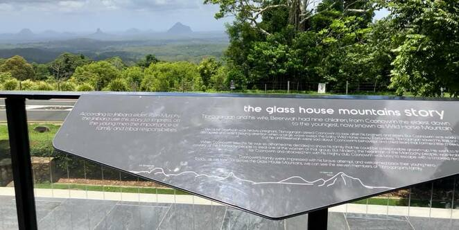 View across the Glasshouse Mountains from the Discovery Centre