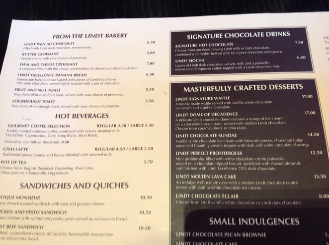 Menu The Lindt Cafe Martin place Lunch coffee chocolate