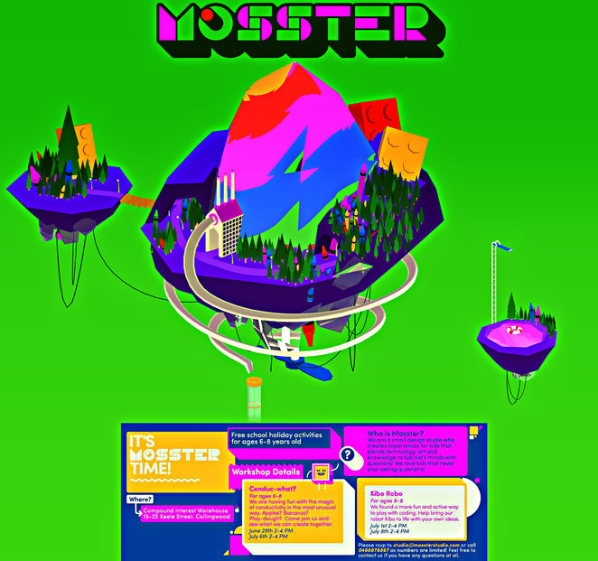 mosster studio, school holiday activity, design studio, technology for kids, art and knowledge for kids, workshops, magic of conductivity, kibo robo, coding, fun for kids