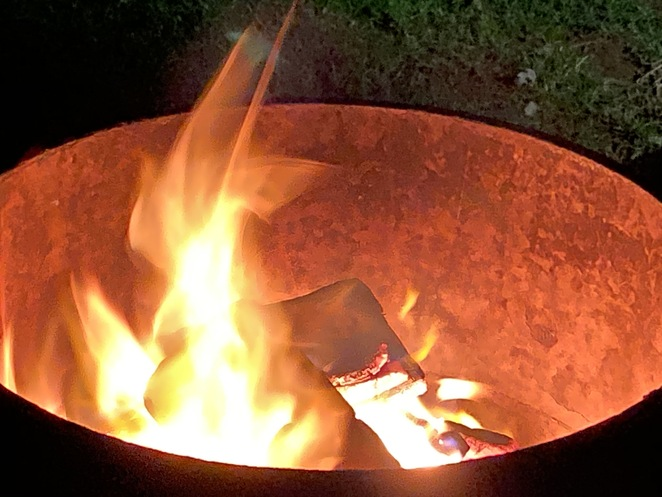 open fire on a winters evening