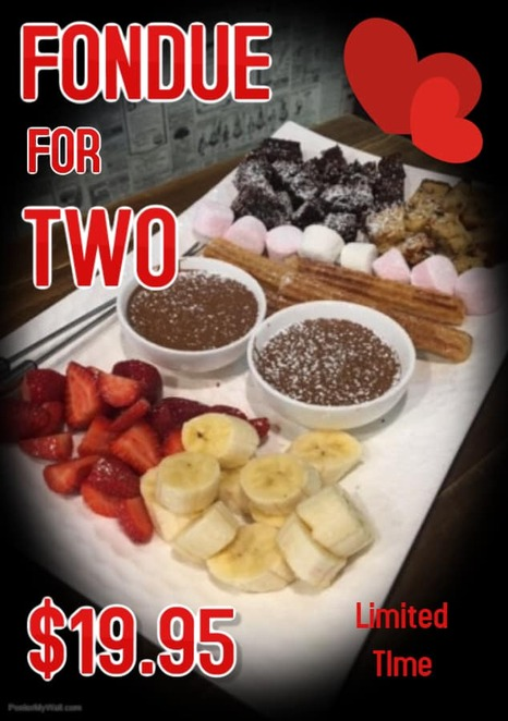 Rusticks Cafe - delicious chocolate fondue for two