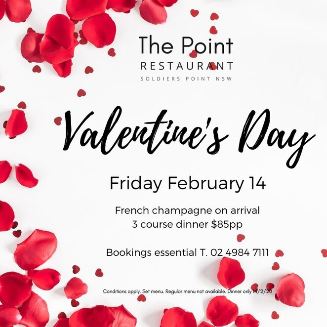 soldires point, the point, restaurants, port stephens, nelson bay, NSW, newcastle, valentines day events, dinner, water views, 2020, whats on,