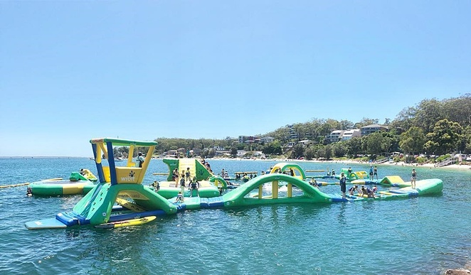 splash water park, nelson bay, whats on, port stephens, school holidays, kids, family, families, activities, cheap, summer, swimming, obstacle course, whats on,