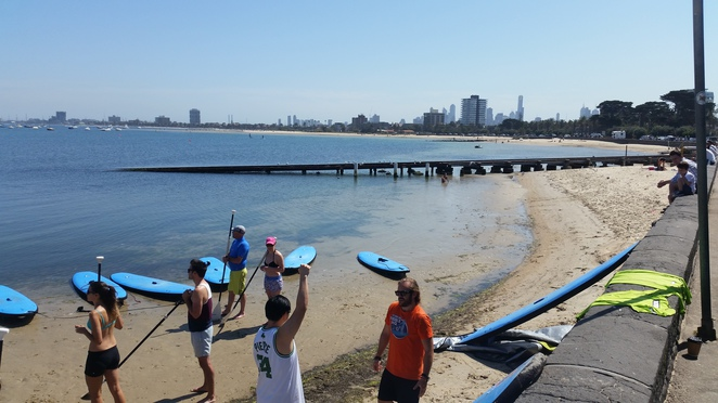 SUP, stand up paddle boarding, beach, St Kilda, summer, outdoor