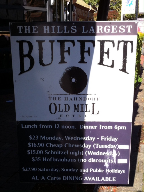 The Hahndorf Old Mill Hotel Buffet
