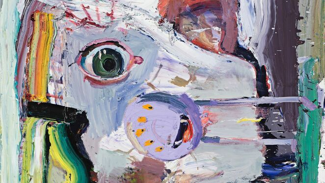 Ben Quilty, Australia, born 1973, The Blue Pill (explain the world), 2016, Southern Highlands, New South Wales, oil on linen, 183.0 x 173.0 cm; Private collection, Courtesy the artist.