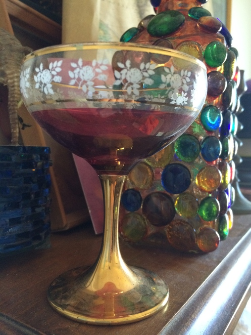 A rosy gold champagne glass