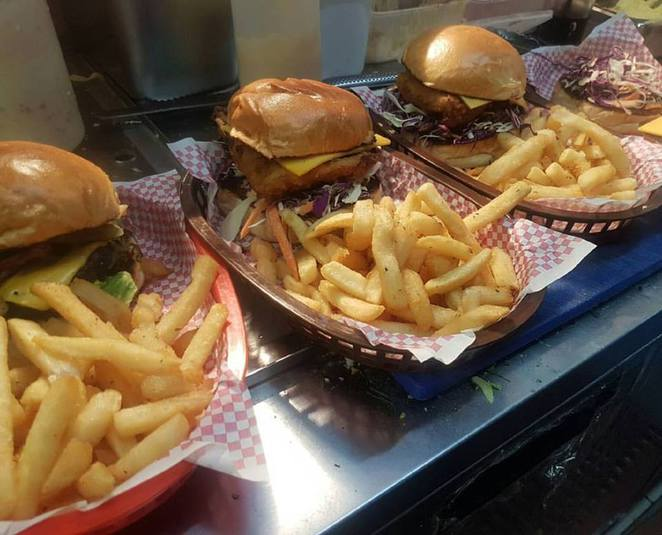 burgers at Launch Espresso & Kitchen geelong