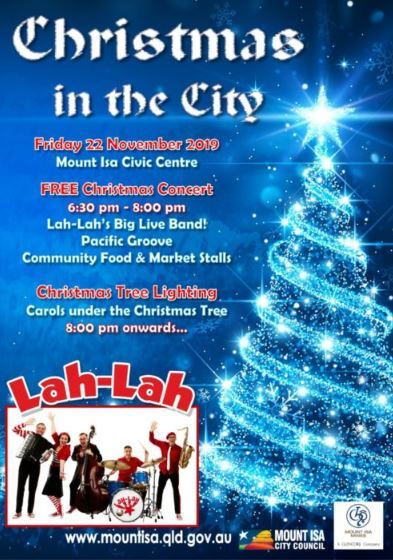 Christmast, Mount Isa, Queensland, outback, free, free event, family, Lah-Lah's Big Live Band