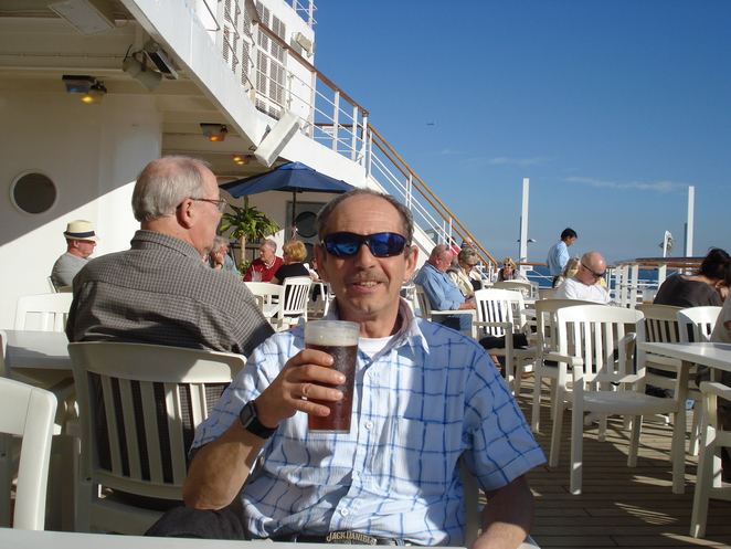 Colin's first drink aboard the Thomson Celebration