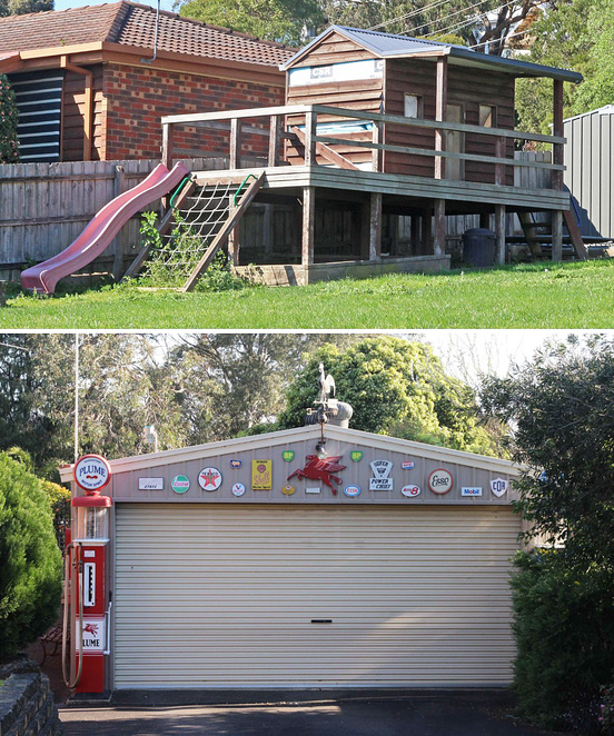 cubby house and garage.