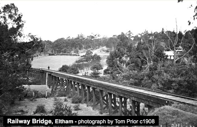 eltham railway bridge, trestle bridge, eltham central park, diamond creek rail trail, metro trains, heritage rail,