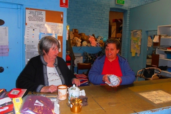 Two of the lovely volunteers at Father Riley's Op Shop.