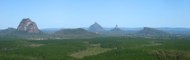 The Glass House Moutains, with Mt Ngungun on the far right