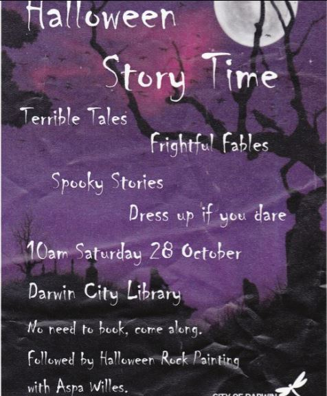 Halloween, Halloween story time, children, free children activity, library, books, City Darwin Library, Darwin