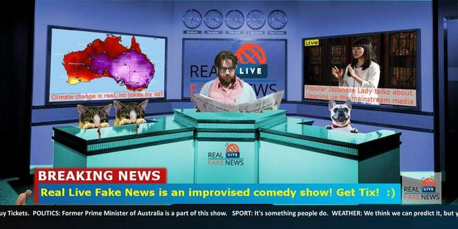 improvised comedy, fake news, anywhere theatre