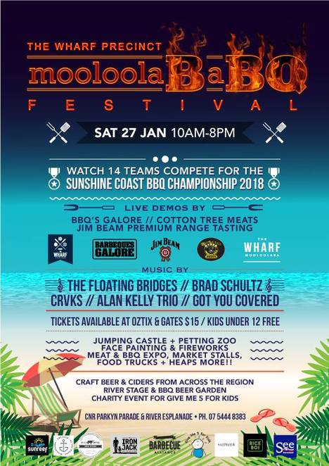 MooloolaBaBQ Festival, Wharf Tavern, Saturday 27 January 2018, Australia Day weekend, Mooloolaba Wharf, barbecues, seafood, pork, beef, lamb, chard, grilled, smoked, roasted, on a spit, marinated, Australasian Barbecue Alliance, competition, Sunshine Coast BBQ Championship 2018, Cotton Tree Meats, BBQ's Galore, Jim Beam Premium Range Tasting, live demos, food trucks, BBQ Beer Garden, craft beer, live entertainment, River Stage, petting zoo, face painting, market stalls, fireworks, Give Me 5 for Kids charity, The Dock Mooloolaba, The Helm, Friday Live at the Helm, Sunreef Diving, See Restaurant